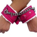 Hot Pink Leather Fur Lined Wrist Restraints