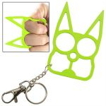 Neon Green CAT Steel Defense Keyring