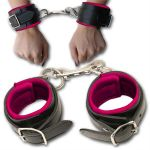 Black & Pink Leather Padded Wrist Shackles