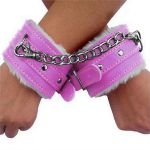 Pink Leather Fur Lined Wrist Restraints