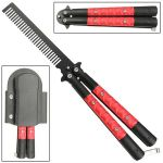 Red Diamond Plate Butterfly Knife Comb